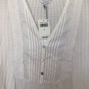 Lucky Brand Tops - NWT Lucky Brand Lace Trim Shirt